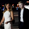 Melania Stuns In Sleeveless Off-White Dress After Arriving In Palm ...